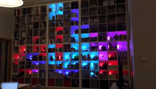 Decoración y tecnología: mira un librero LED para jugar Tetris